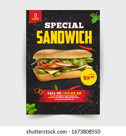 Fast Food Flyer Design Template cooking, cafe and restaurant menu, food ordering, junk food. Pizza, Burger, French fries and Soda. Vector illustration for banner, poster, flyer, cover, menu, brochure.