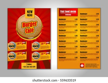 Fast food flyer design template in A4 size. candy colors. vector illustration