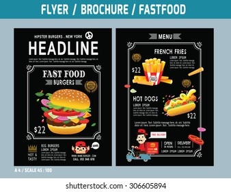 Fast food flyer design vector template in A4 size.Brochure and Layout Design.food concept.
