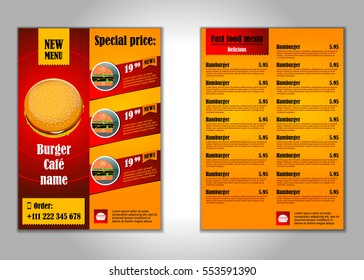 Fast food flyer design vector template in A4 size.