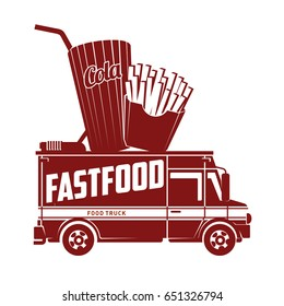 Fast food foodtruck logo vector illustration. Badges and labels design concept for american fast food. Cola and french fries. Two colors logo templates for your design. Isolated on a white background