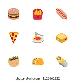 Fast food fresh dishes icons set, vector illustration flat style symbols, emojis collection, pack.