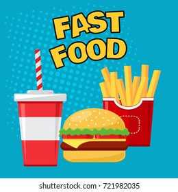 Fast food. Glass of soda with french fries and cheeseburger on blue background. Vector illustration in pop art style.