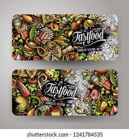 Fast food hand drawn doodle banners set. Cartoon detailed flyers. Fastfood identity with objects and symbols. Color vector design elements illustration