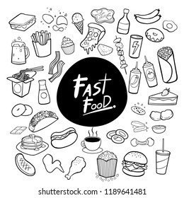 Fast food hand drawn doodles background vector