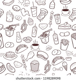Fast food hand drawn doodles seamless pattern background