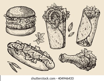 fast food. Hand drawn hamburger, burger, pizza, sandwich, chicken leg, hot dog, burrito, shawarma, gyros, pita bread. Sketch vector illustration