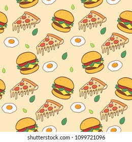Fast food hand drawn seamless pattern background