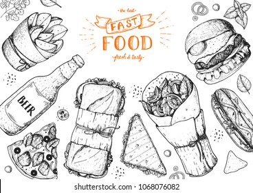 Fast food hand drawn sketch collection. Vector illustration. Junk food set. Engraved style illustration. Fast food top view frame