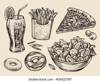 fast food. hand drawn soda, lemonade, fries, slice of pizza, salad, dessert, donut. sketch vector illustration