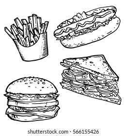 Fast food hand drawn stock vector illustration. Sandwich, hot dog, french fries, hamburger line art sketch coloring book page.