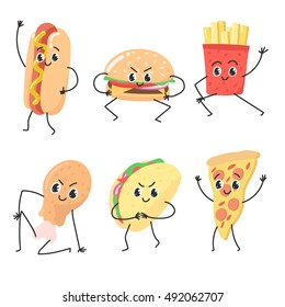 Fast food hand drawn vector illustration. Colorful emoticon face flat design set. Funny cartoon elements collection characters.