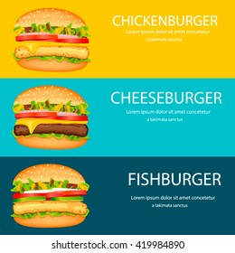 Fast food horizontal banner design template.Vector burgers design, web banners.Fast food borders.Chickenburger, cheeseburger, fishburger