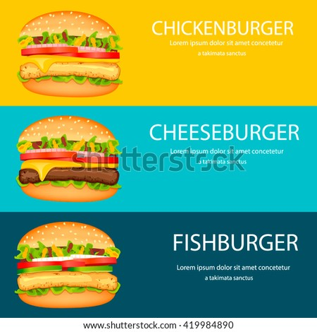 Fast Food Horizontal Banner Design Template Vector Stock Vector