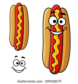 Fast food hot dog cartoon character with mustard sauce and happy smiling face, for takeaway food design