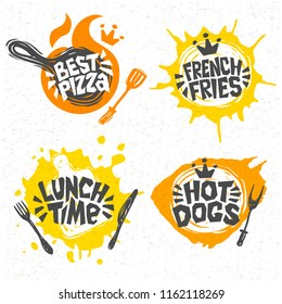 Fast food, hot dogs, best pizza, french fries, lunch times logo, signs, symbols, emblems, labels, lettering. For restaurant, cafe, bistro, snack bar, eatery. Hand drawn vector Illustration.