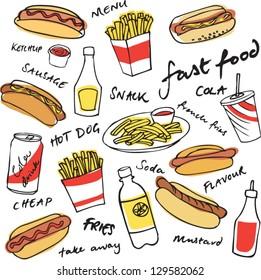 Fast food hotdog vector set
