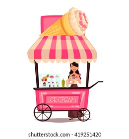 Fast food ice cream cart, vector cartoon set isolated on a white background. street selling ice cream