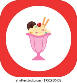 fast food, ice cream sundae with cherry waffle and whipped cream. vector image with white and red background