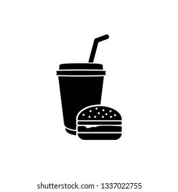 fast food  icon/ hamburger icon/ coffee icon/ fast food logo vector