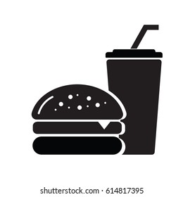 Fast food icon on white background, Drink with straw and hamburger. Vector EPS 10.