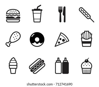 Fast food icon set, Flat design on white background, Vector illustration