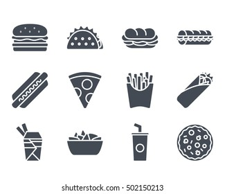 Fast Food Icon set Solid silhouette