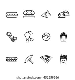 Fast food icon set. Vector illustration.