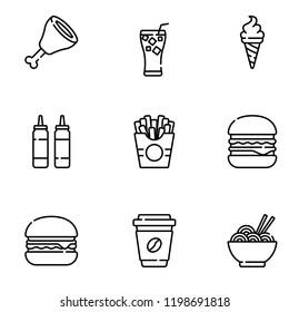 fast food icon set vectro