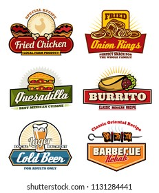Fast food icons for cinema bistro bar or fastfood restaurant snacks menu. Vector set of fried chicken bbq, on onion rings and Mexican quesadiila or burrito and drinks for fastfood delivery or takeaway