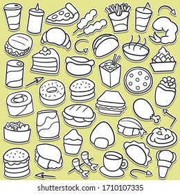 Fast Food icons doodle set. Cooking, objects sticker illustration. Line art menu restaurant hand drawn.
