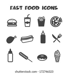 fast food icons, mono vector symbols