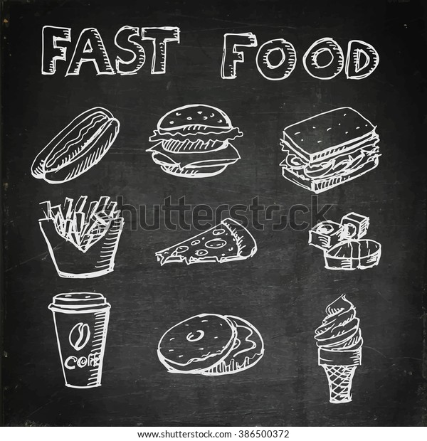 Fast Food Icons On Chalkboard Hot Stock Vector Royalty Free 386500372