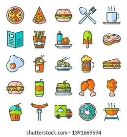 Fast food icons pack. Isolated fast food symbols collection.