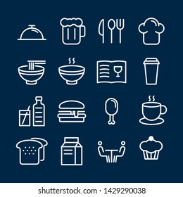 Fast food icons pack. Isolated fast food symbols collection. Restaurant icons vector
