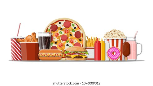 Fast food icons set. Burger, pizza, hotdog, fried chicken, fries, popcorn, donut, milk cocktail cola soda, ice cream, paper glass and bottles with sauces. Fastfood. Vector illustration in flat style
