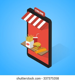 Fast food icons set  Isometric. Tablet, mobile. 3d flat design vector