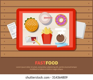 Fast food, illustration in a flat style. The tray with hot-dog, fries, soda, donut and coffee on wooden table