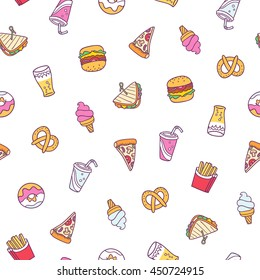 Fast food illustrations vector seamless pattern