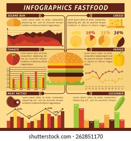 Fast food infographics set with cheeseburger ingredients and charts vector illustration