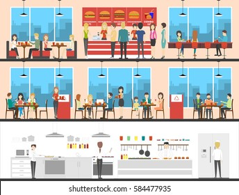Fast food interior set with visitors, menu and kitchen. Burgers and drinks. Chefs making fries.