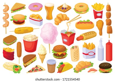 Fast food isolated cartoon set icon. Snack vector cartoon set icon. Vector illustration fast food on white background.