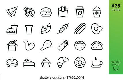 Fast food isolated icons set. Set of pizza slice, burger and drink, chicken legs and wings, mexican taco, gyros kebab, pita, pancakes, dessert, asian noodle box, french fries, hot coffee vector icon