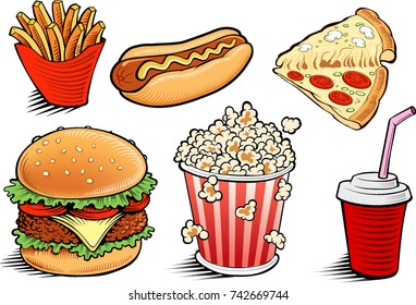 fast food items-hamburger, fries, hotdog, drink, popcorn, pizza - hand drawing