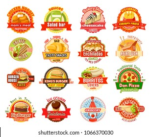 Fast food label set of american, mexican and asian cuisine. Burger, hamburger and pizza, french fries, chicken nuggets and taco, burrito, ice cream and chinese wok noodle for restaurant badge design