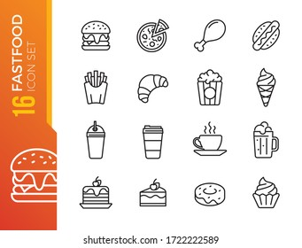 Fast food line icon set. Burger sandwich pizza hot dog cola coffee sweets