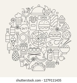 Fast Food Line Icons Circle. Vector Illustration of Cafe Outline Objects.