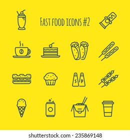 Fast Food Line Icons Set 2