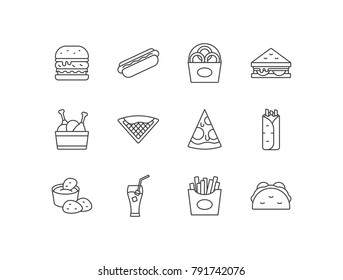 Fast food line icons set with burger, sandwich, hotdog, onion rings, chicken legs, waffle, pizza, burritos, nuggets, drink, French fries, tacos.
