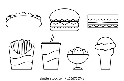 Coloring Pages Burger High Res Stock Images Shutterstock